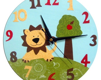 Lion and Apple Tree Clock / Children's / Kids Wall Clock / Jungle Animal Nursery Decor