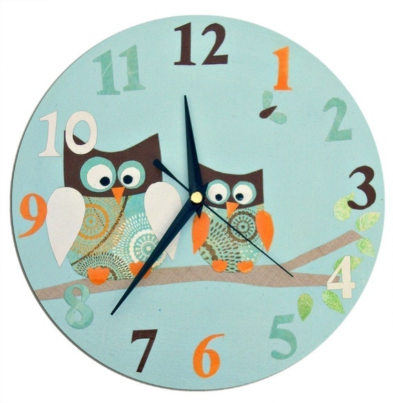 Wall Clock Owl Design : Owl clock personalized children s wall nursery