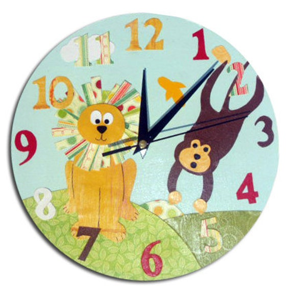 Jungle Animal Clock / Children's Wall Clock / Monkey and Lion Kids Decor / Nursery Clock