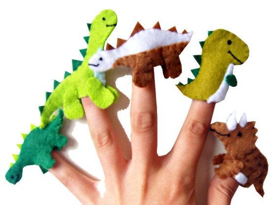 Dinosaur Finger Puppets / Children's / Kids Felt Puppet - 5 / Boys Stocking Filler