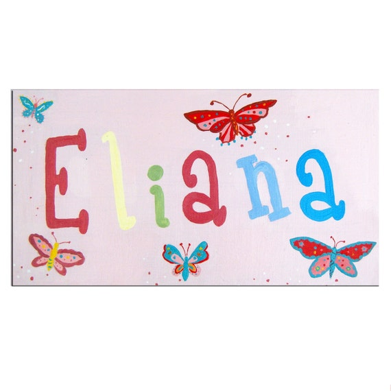 Butterfly Personalized Door Sign / Personalised Name Plaque / Nursery Decor