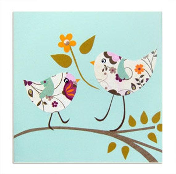 Two Birds Canvas / Children's Art / Picture / Nursery Decor - Blue