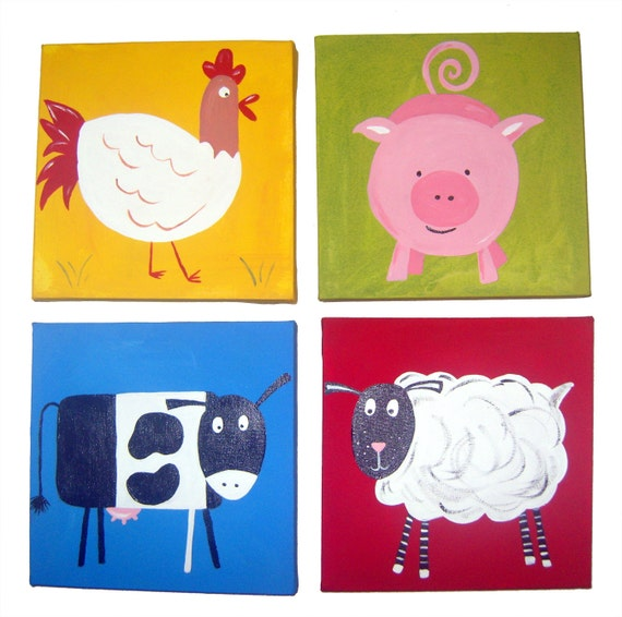4 Farm Animal Canvases / Children's Art / Painting / Nursery Decor - Pig, Sheep, Cow and Hen