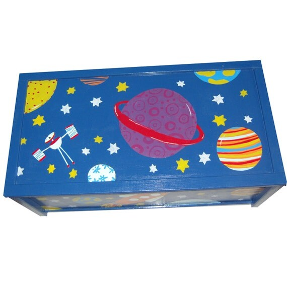 Personalized Outer Space Toy Box / Personalised Boys Storage Box / Hand Painted