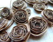 Upcycled Recycled Paper Bag handmade paper flowers SET of 20 kraft paper roses