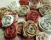 Shabby Chic Autumn Rose handmade paper flowers SET of 20 handmade roses orange handmade flowers for Fall