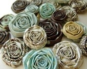 Shabby Chic blue coffee handmade paper flowers SET of 20 handmade roses blue and brown handmade flowers