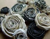 Vintage Printery black and cream handmade paper flowers SET of 10 handmade roses flowers ivory and black