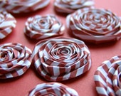 Red and White candy stripe handmade paper flowers SET of 10 handmade roses blooms