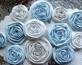 Blue Ice handmade paper flowers set of 10 Jack Frost winter white paper roses