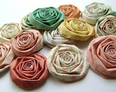 Paper flowers set of 24 handmade roses spring mix peach yellow green coral blooms