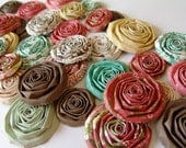 Paper flowers set of 40 red brown aqua handmade roses new Echo Park This and That scrapbooking flower