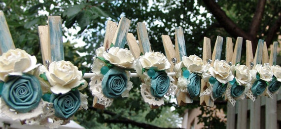 French Shabby Chic Cottage decorative clothespins teal aqua decorated clothes pegs set of 6 pins with handmade flowers paper flower
