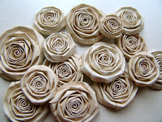 Shabby Chic Wedding paper flowers set of 15 handmade rose tea stained LOVE LETTERS