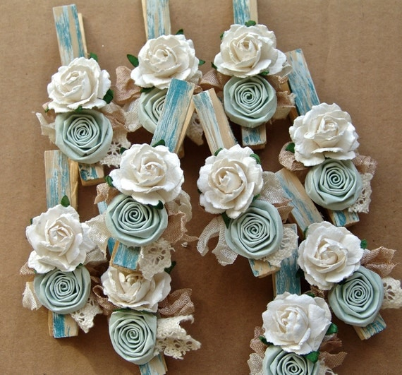 Shabby Chic Cottage Blue decorated Clothes Pins Decorated Clothes Pegs Set of 10 pins with handmade paper flower