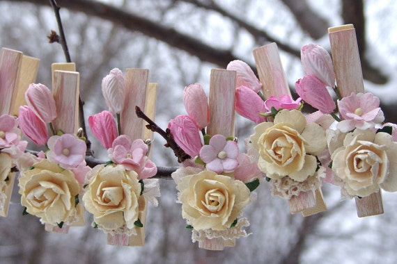 Shabby Chic PINK nursery decorated Clothes Pins set of 7 pegs spring wedding tulips paper flowers