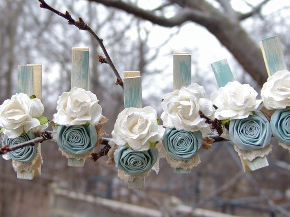 Shabby Chic Cottage blue Wedding decorated clothes pins set of 8 clothing pegs hand made paper flowers French Cottage