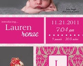 Pink & Gray Damask GIRL Birth Announcement 5x7 - Print Your Own