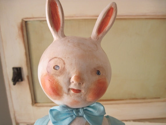 Set of Two PaperClay Bunny Rabbit Doll, Boy and Girl, Primitive and OOAK