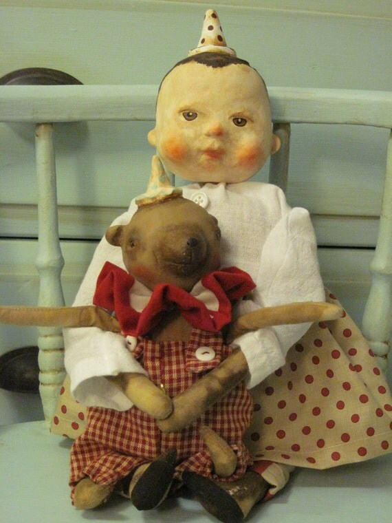 Primitive Vintage Inspired Girl and Bear doll set