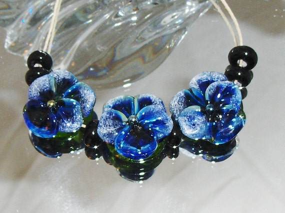 BLUE MOON PANSIES. lampwork beads Set of 3 Pansies plus spacers. Made with Triton Glass.