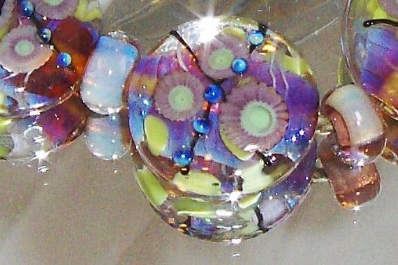FLOWER WATER SPIRIT..lampwork bead set of 5 large button sprees. 22mm plus silver spacers.