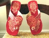 Red Virgin Vintage Handmade Indian Sandals from Panaji, India