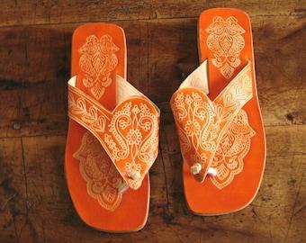 Orange Virgin Vintage Handmade Indian Sandals from Panaji, India