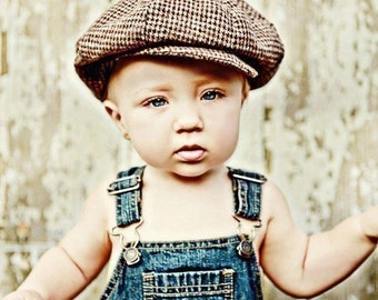 Boys Newsboy Hat (Dark brown and tan houndstooth)choose size - infant, toddler, child