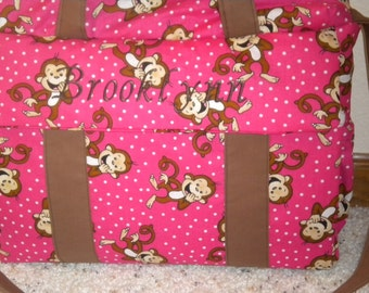 Pink Monkey Diaper Bag with changing pad by EMIJANE