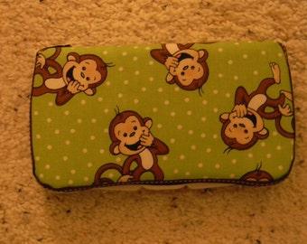 Pink or Green Monkey Wipe Case  by EMIJANE