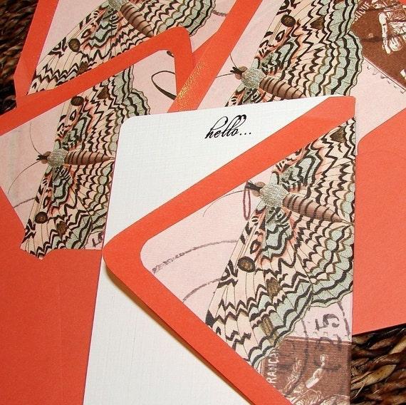Aqua Butterfly Notecards - Set (8)