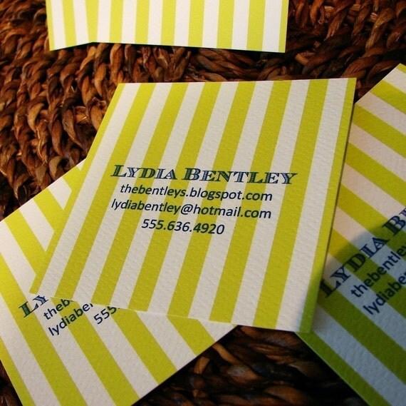 chartreuse stripe calling cards set (50)