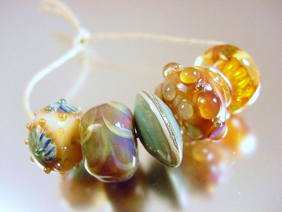 On SALE--Handmade lampwork glass beads---MIST---SRA