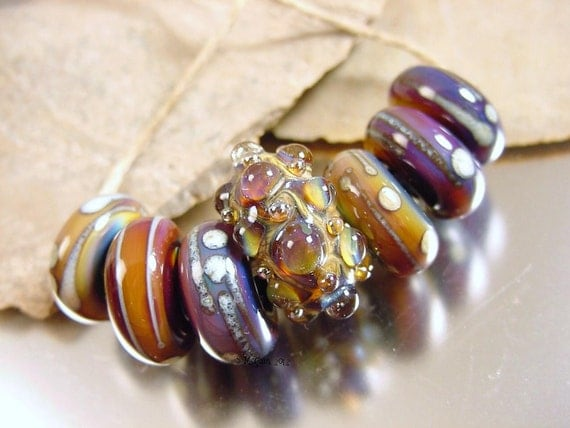 Handmade lampwork glass beads---HYPNOTIC II---SRA