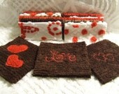 20 - 6 Inch Vintage and New Chenille Bedspread Fabric Quilt Charm Valentines Craft Squares Brown And Red