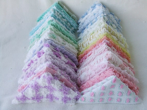 50-6 Inch Vintage Chenille Bedspread Fabric Rag Quilt Charm Squares In Pastel Colors