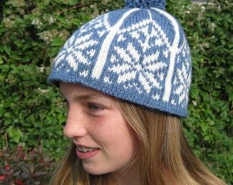 Norwegian Hat, Handknit, Ski, Blue, Child, Adult, Wool, Handmade by Felted Friends