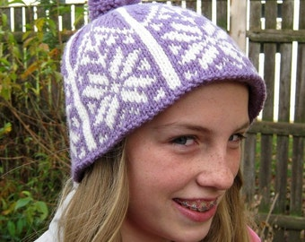 Handknit Hat, Norwegian, Ski, Snowboard, Cloche, Purple, Wool, Handmade by FeltedFriends