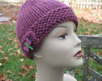 Bulky Plum Hat, Handknit, Dragonfly, Child, Adult, Wool, Handmade by Felted Friends