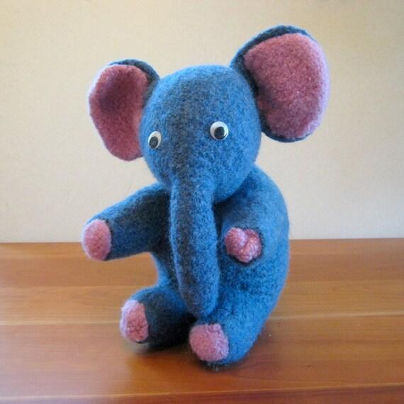 Elephant Stuffed Animal. Handmade, Pink, Blue, Wool. Handmade Stuffed Animals by FeltedFriends on Etsy.