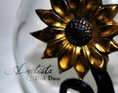 Dark Home Decor - Apothecary Bottle - Art Bottle - Golden Daisy