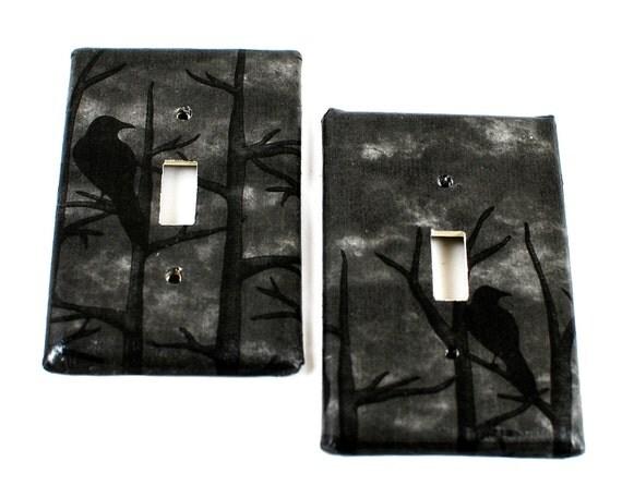 Switch Plate Raven Wood Goth Gothic Dark Home Decor