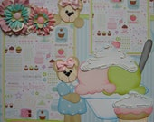Sale 12x12 ONE Premade Scrapbook Page Layout Ice Cream Sweets BTDL TYCAALAK