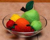 Felt Fruit Mixed Fruit -- Play Food Apple, Orange, Lemon, Lime, Strawberries