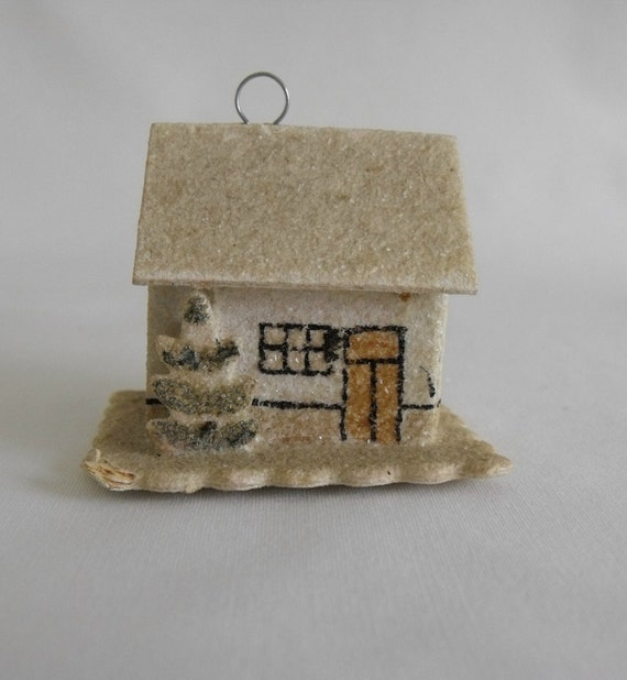 Pair of miniature vintage Putz house ornaments, made in Czechoslovakia