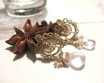 Upendo - Intricate gold filled earrings with rose quartz and pearl
