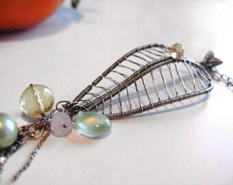 Majani - Sterling silver adorned  leaf pendant