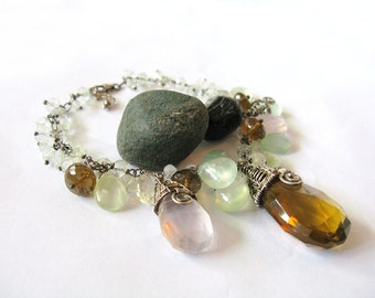 Garden - Sterling silver gemstone bracelet with wire wrapped bead caps