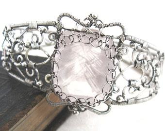 Life Becomes You-  intricate victorian rose quartz bangle
